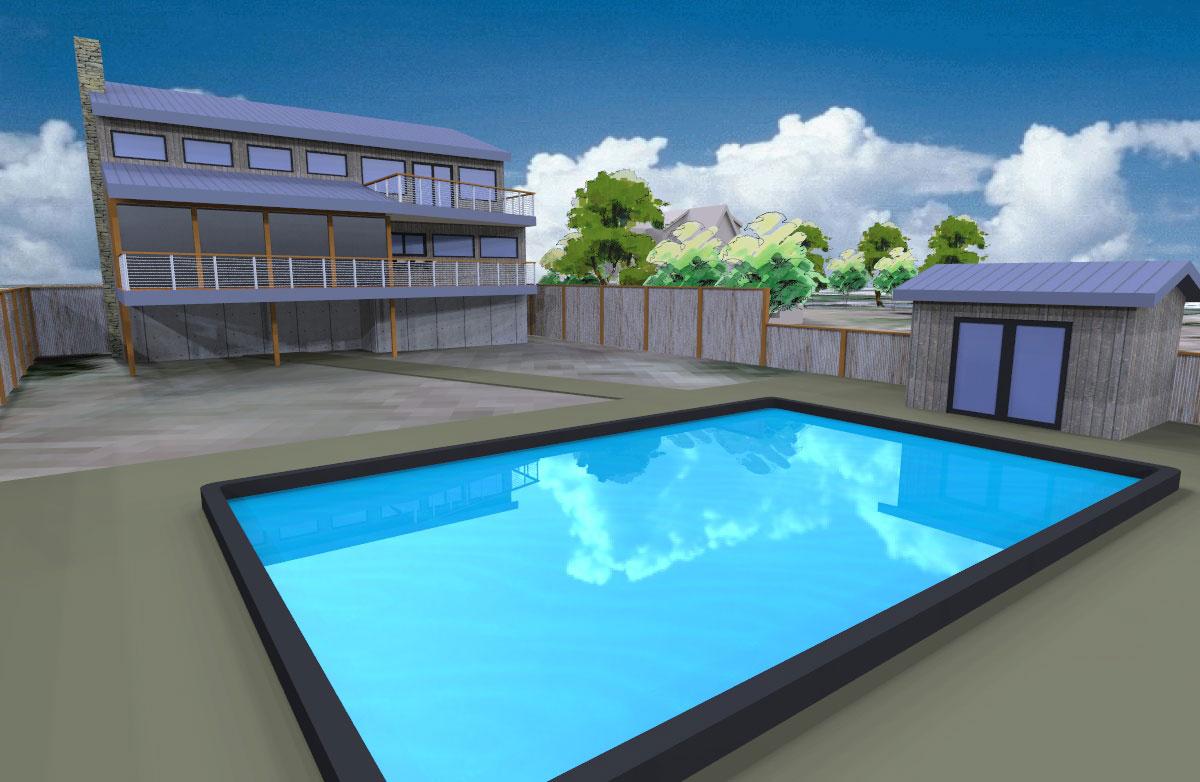 Beach house rendering of pool in back